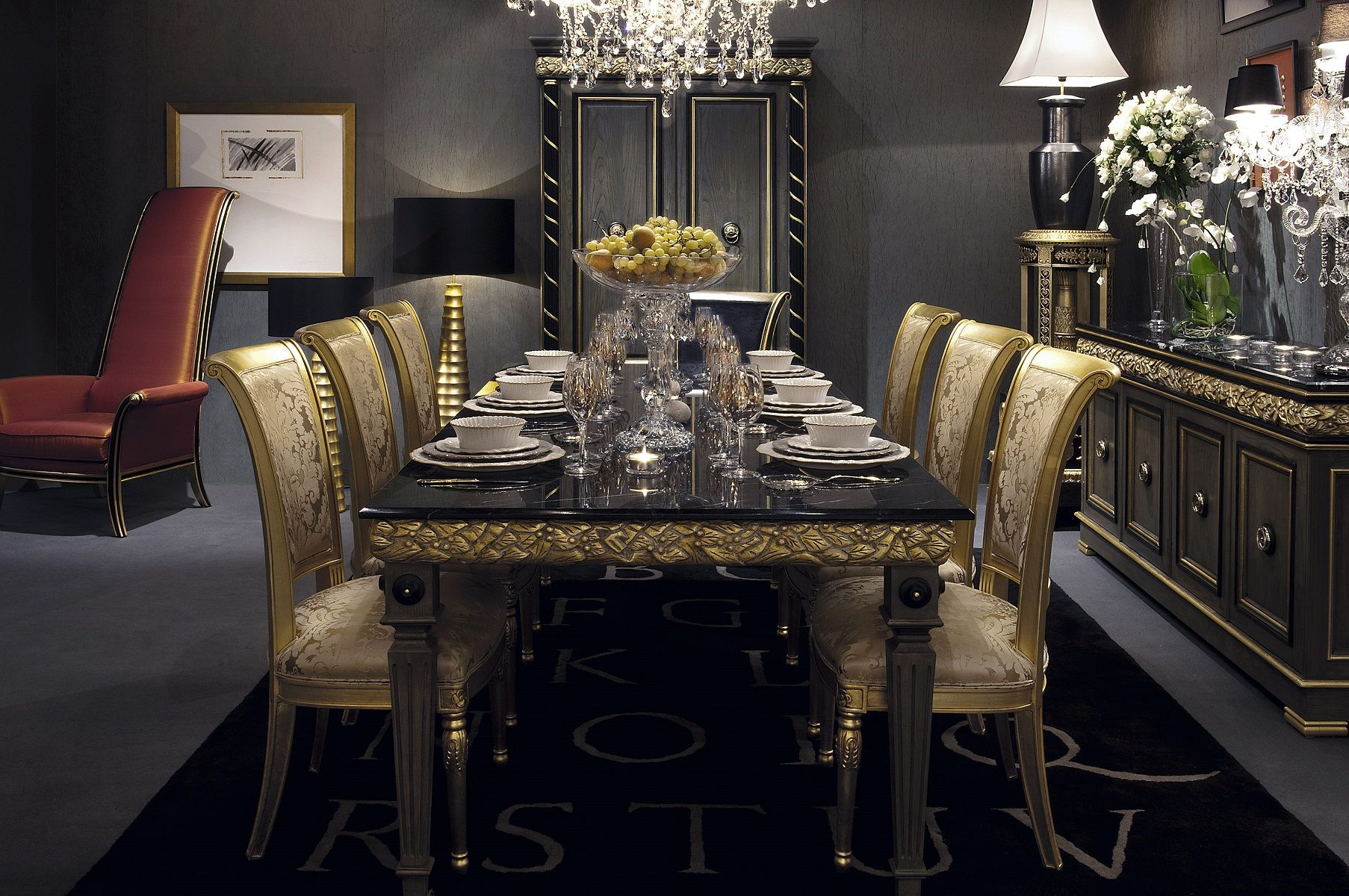 Dining Room Inspiring Black Marble Dining Table For 6 Luxury