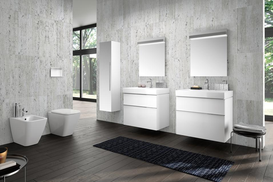 Pozzi ginori variante a due lavabi separati della collezione metrica