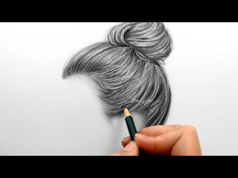 Timelapse drawing shading realistic hair bun with graphite pencils emmy kalia youtube