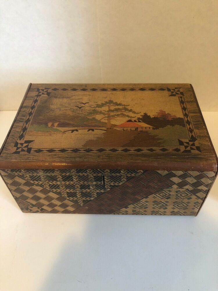 Vintage Japanese Puzzle Box Wooden Secret Inlay Box Mount Fugi And Scotty Dogs Ebay Japanese Puzzle Puzzle Box Puzzle Inlay
