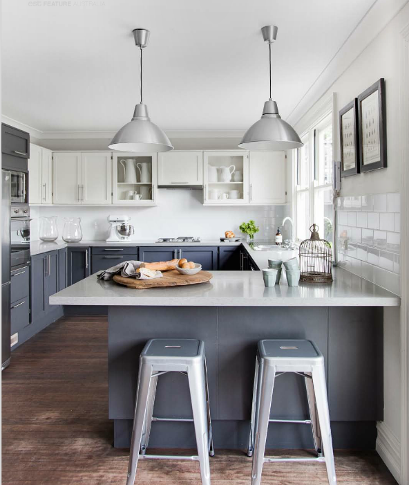 YES - gray base cabinets & white uppers, probably softer/warmer gray with matching countertops & glass backsplash. pendant lights and stools are perfect! OPTION: paint interior of wall cabinets in same gray of base cabinets.