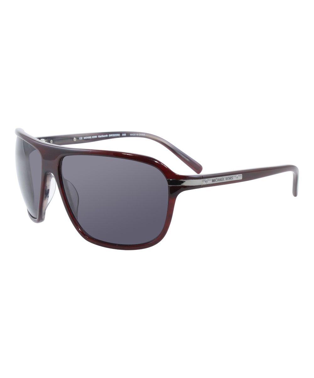 Gray & Burgundy Horn Logo Sunglasses