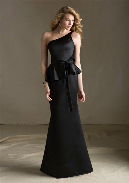 Mermaid One Shoulder Long Black Satin Peplum Bridesmaid Dress With ...