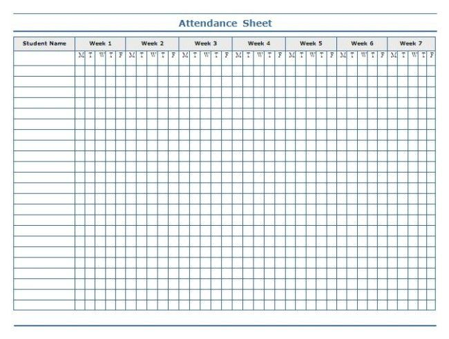 Minimalist Template Of Weekly Attendance Sheet In Excel For Student With 7  Weeks Column   An  Attendance Sheet For Students