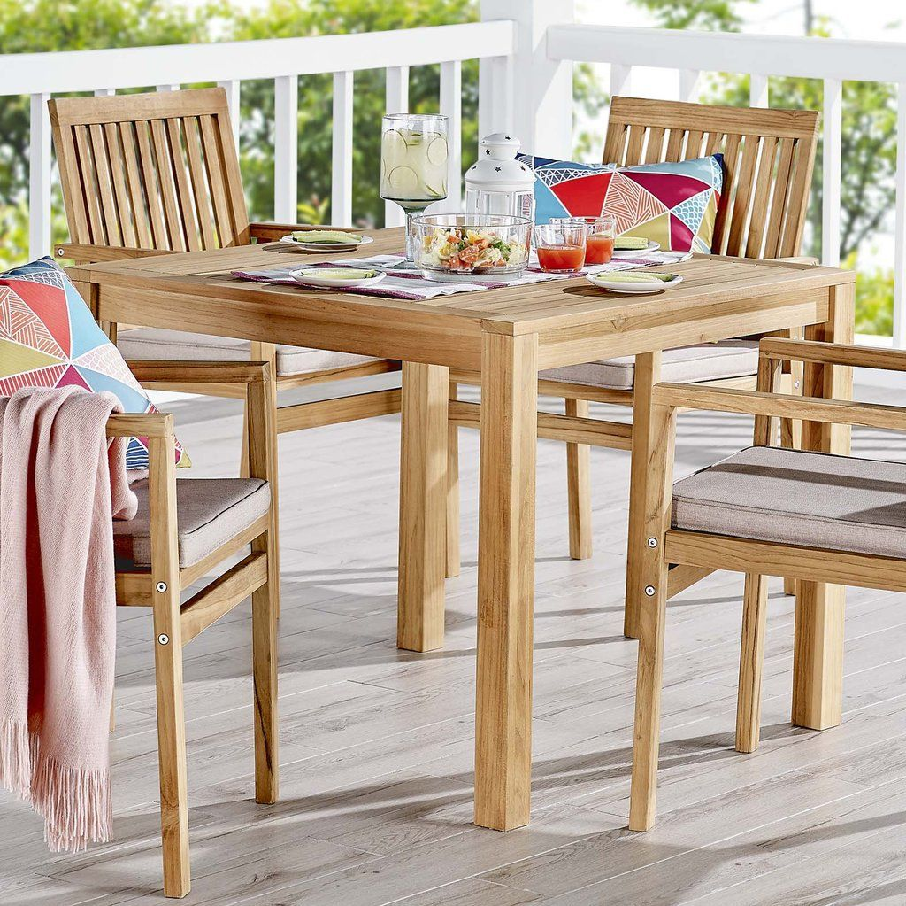 Modway Farmstay 36 Square Outdoor Patio Teak Wood Dining Table In