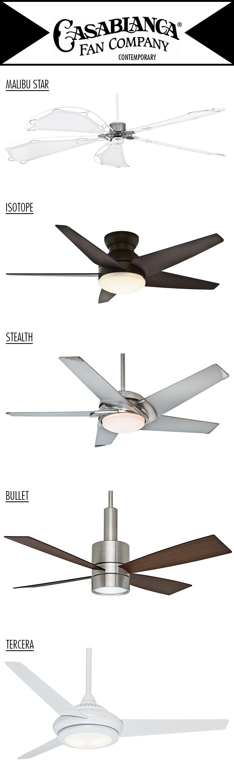 Casablanca Fan Company Contemporary Collection Available In Several Motor Housing And Blade Finish Combinations