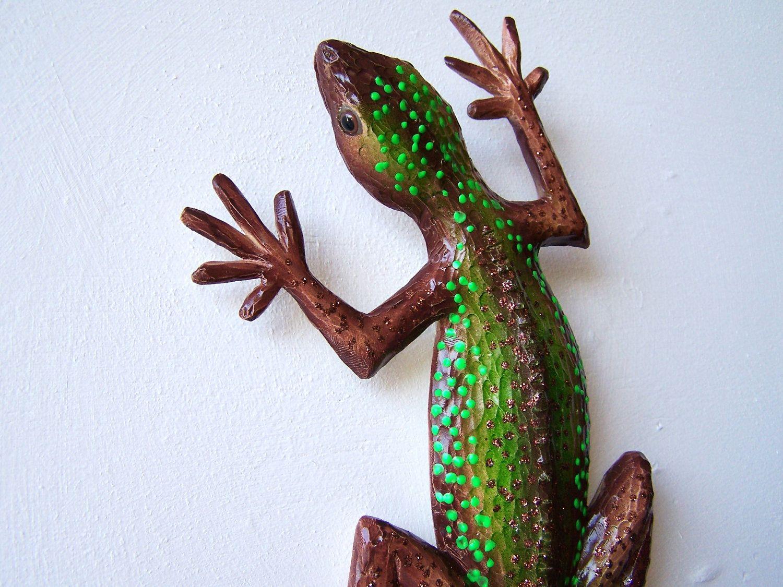 Lizard art gecko sculpture wall decor via etsy lizards