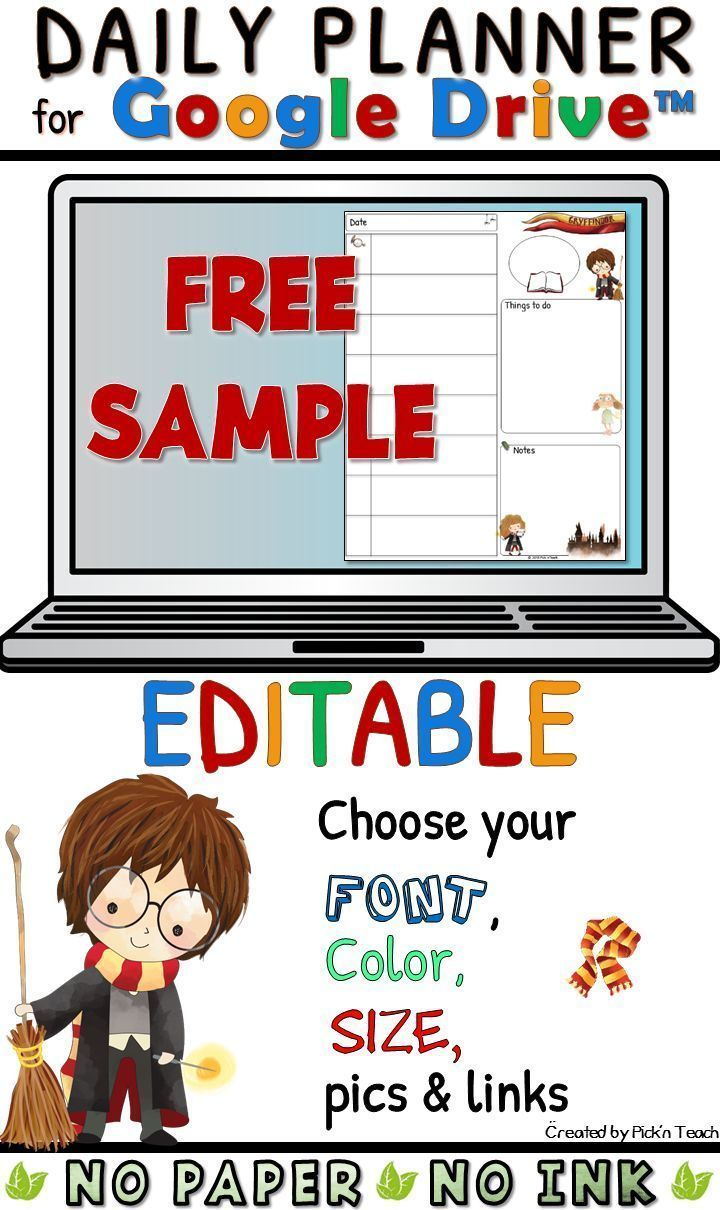 1 free EDITABLE teacher planner TEMPLATE for wizards in Google Drive™ #teacherplannerfree This file is a Google Slides™ file which means you can add text or pictures in the boxes. Choose your own fonts/sizes/colors... Please note: - You need a Google account to use this resource online (If you do not have one you can create one for free). - The clip art images used in this resource belong to their owners (see CREDITS page) and are not editable. - Just download this first file on your desktop #teacherplannerfree
