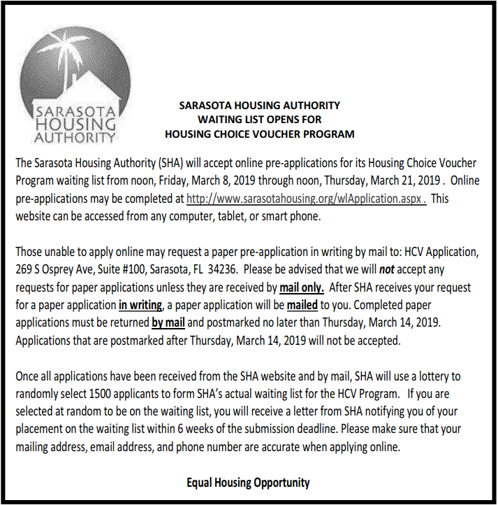 03 12 19 Florida Housing Sarasota Housing Authority The Section 8 Waiting List Will Be Open From Noon On 3 8 19 Through Noon On Sarasota Florida Home Waiting