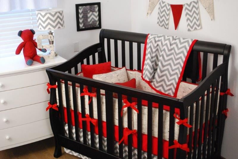 Tan world map fabric with red and grey chevron with black furniture explore chevron baby bedding grey bedding and more tan world map fabric gumiabroncs Images