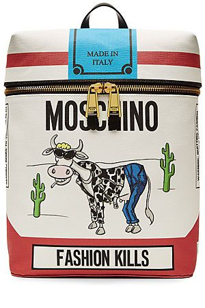 Printed+with+the+brand's+cigarette-inspired+'Fashion+Kills'+slogan,+this+glossy+backpack+from+Moschino+is+bound+to+start+conversations+and+lend+fun+edge+to+any+look+#Stylebop