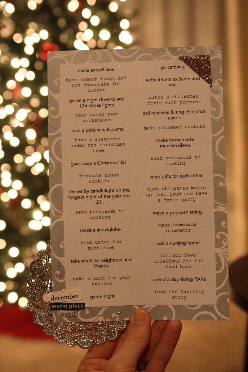 Christmas fun list - things to check off during the month of december...seriously so precious!