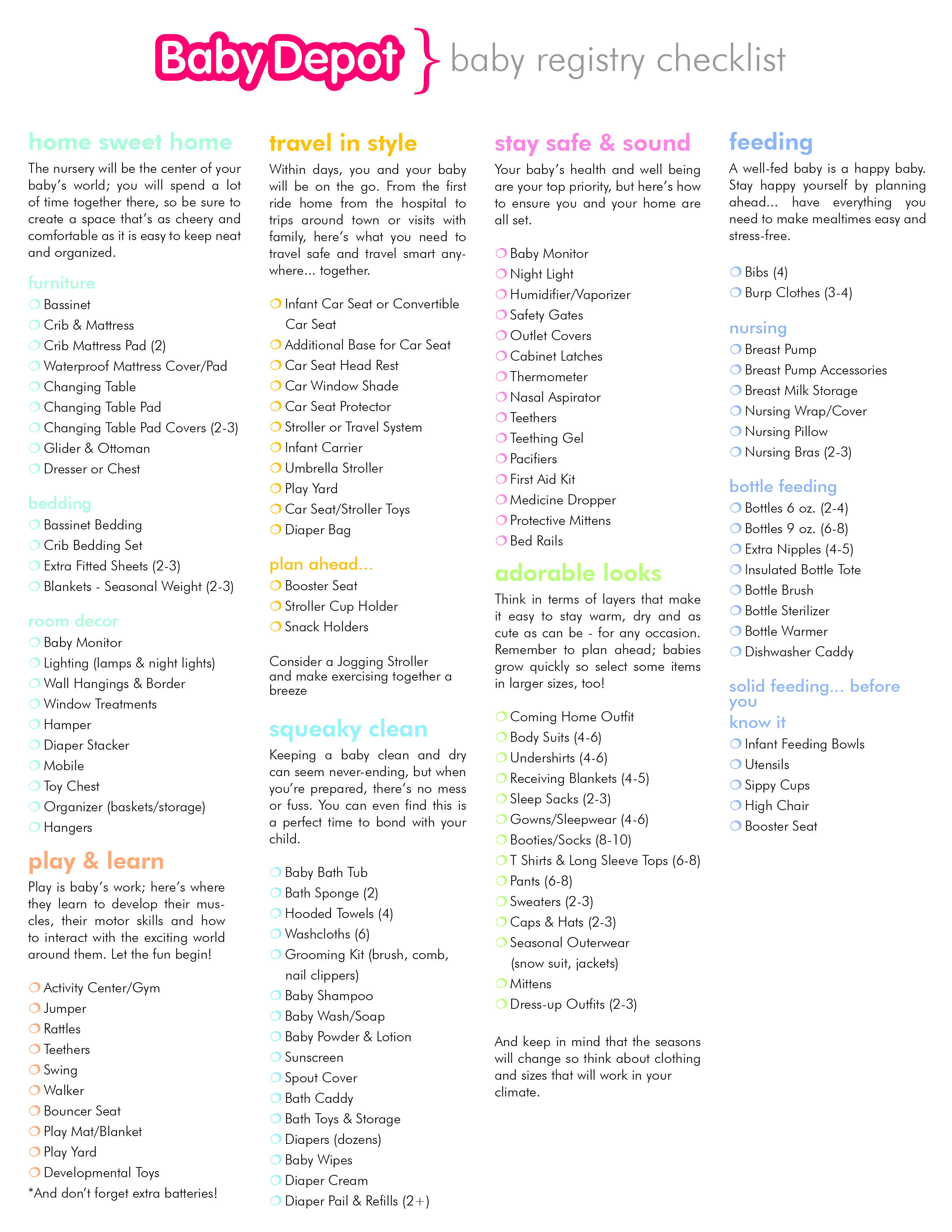 Baby Depot has created a suggested baby registry checklist. Great resource  for new parents!