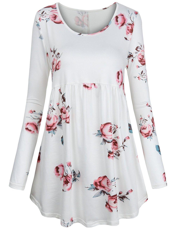 a0c31573a59 FANSIC Women Floral Tops,Long Sleeve Empire Waist A Line Flowy Tunics  Blouses