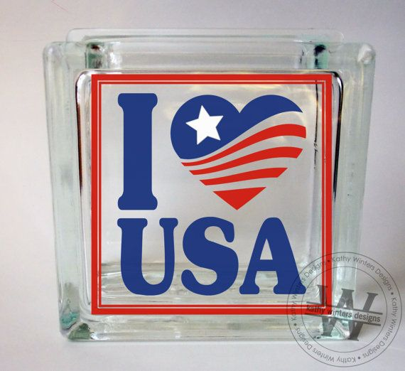 Vinyl lettering glass block decal i love usa