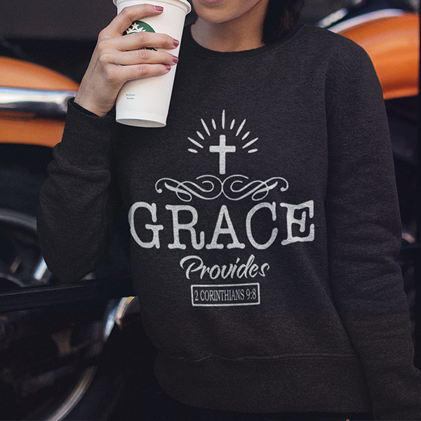 Grace provides 2 Corinthians 9:8 long sleeve t-shirt | Christian apparel