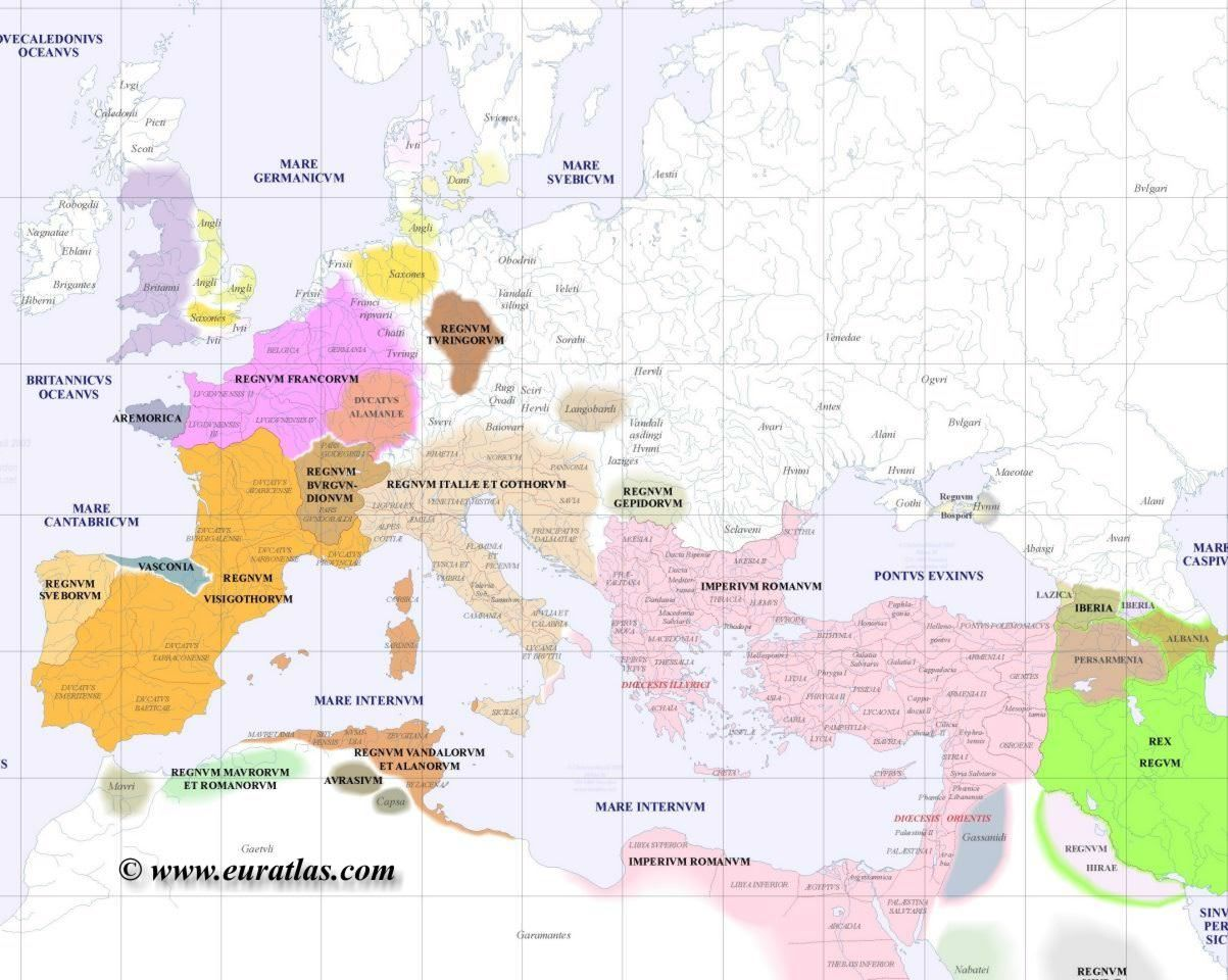 Map of Europe 500 AD | Maps | Map, Historical maps, History