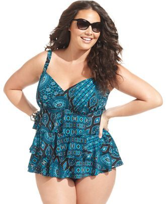 21a778b57f6c6 Swim Solutions Plus Size Swimsuit, Tiered Tribal-Print Tankini Top - Plus  Size Swimwear - Plus Sizes - Macy's