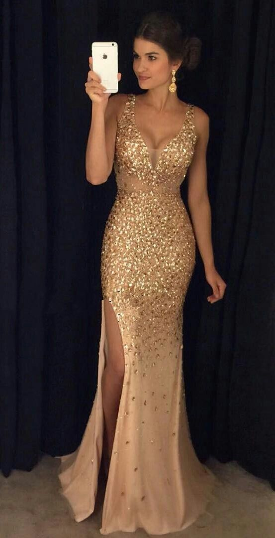 Front Dress Ideas Gold Crystal Mermaid Prom Dresses V Neck Beautiful