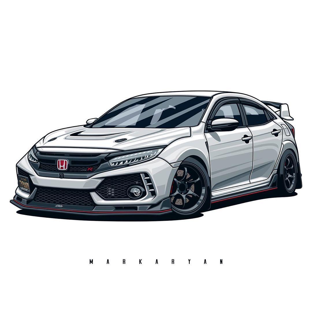 Oleg Markaryan On Instagram Honda Civic Type R Owner Jepps Ctr Order Illustration Of Your Car Write Me In Direct Me Honda Civic Type R Honda Civic Honda