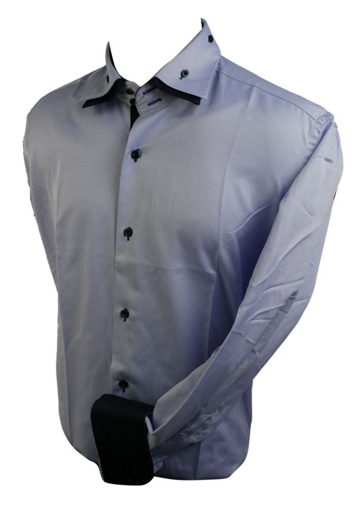 Mens Italian Cotton Double Button Collar Shirt Lilac Blue Black Trim Slim Fit. #shirt #clothing #fashion #menswear #mensstyle #shopping #online #style
