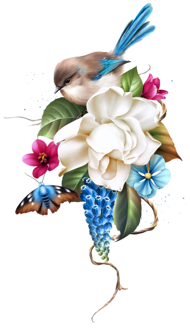 Les Jardin Flower Painting Digital Flowers Bird Art
