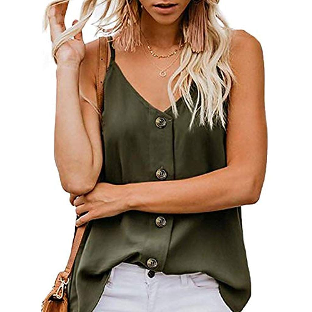 Damen Ärmellos Weste Vest Tank Tops Bluse Sommer Freizeit Chiffon Hemd T-shirt