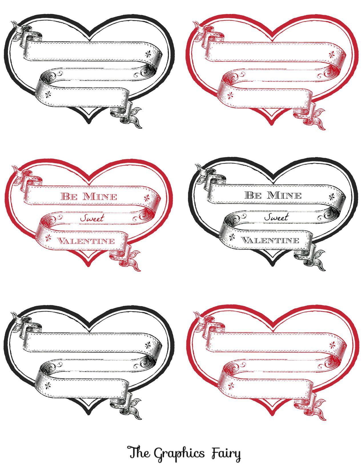 Free Printable Heart Labels | Deko herzen, Valentinstag und Schablone