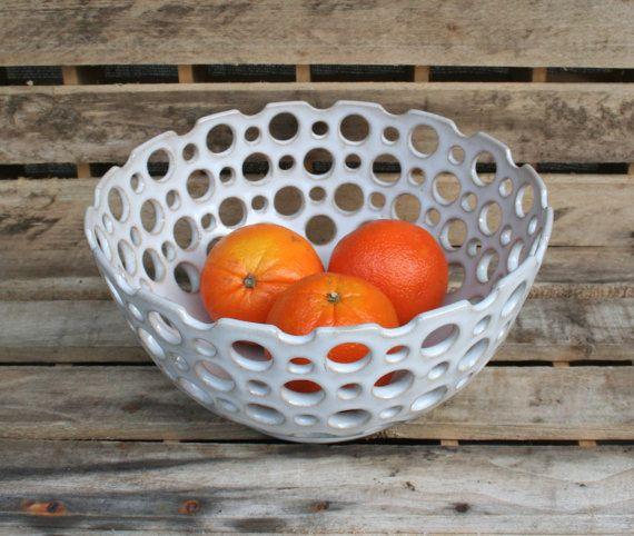 Large Stoneware Pottery Fruit Bowl