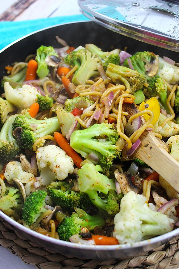 Lightened up stir fry mixed with a simple homemade Asian sauce.