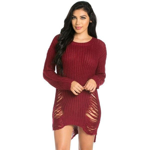 7dc92a5371f8 High-Low Distressed Knit Sweater Dress in Burgundy ( 35) ❤ liked on  Polyvore featuring dresses