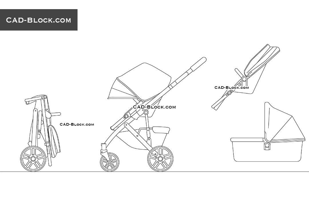 Baby Stroller free CAD drawings | AutoCAD files, DWG Blocks