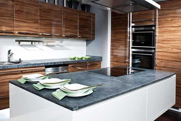 Natursteinarbeitsplatte  - arbeitsplatte küche nussbaum