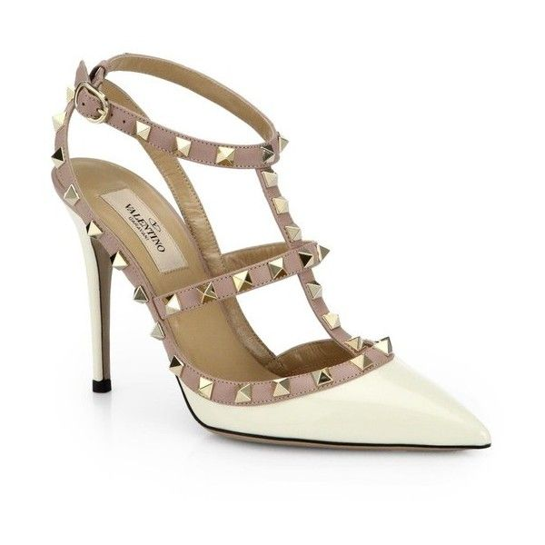 Valentino Patent Leather Rockstud Slingbacks ($995) ❤ liked on Polyvore featuring shoes, pumps, ivory, valentino shoes, pointed toe shoes, patent leather pointed toe pumps, patent pointed toe pumps and valentino pumps