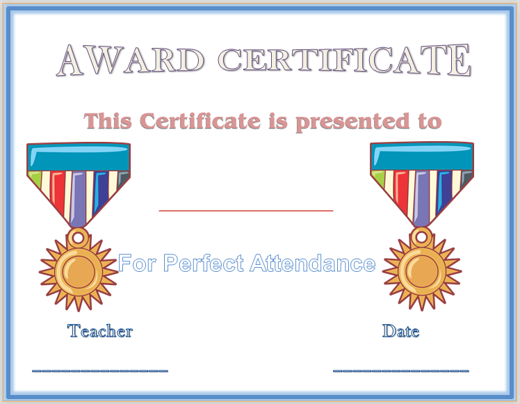 Perfect attendance award certificate template award certificate perfect attendance award certificate template yadclub Images