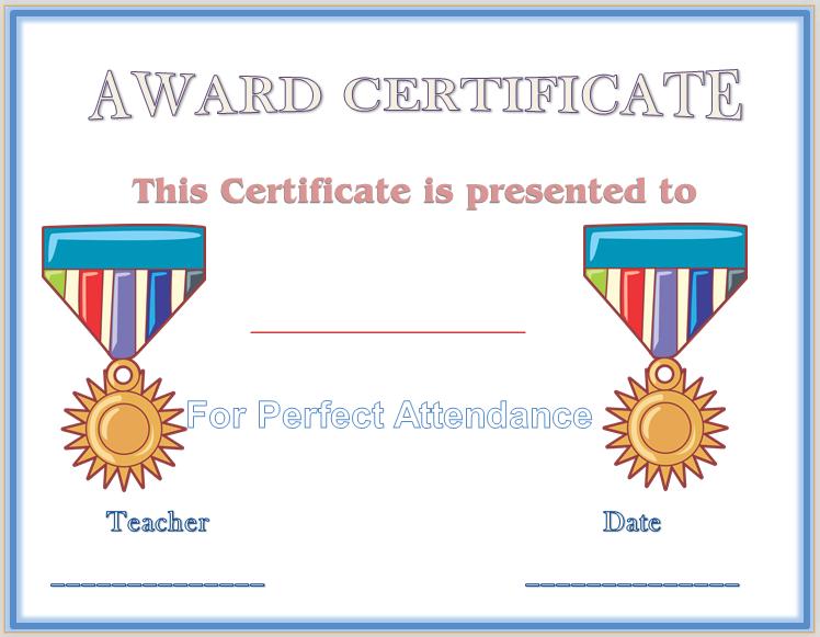 Free Perfect Attendance Certificate Template Perfect Attendance Award Certificate Template  Award Certificate .