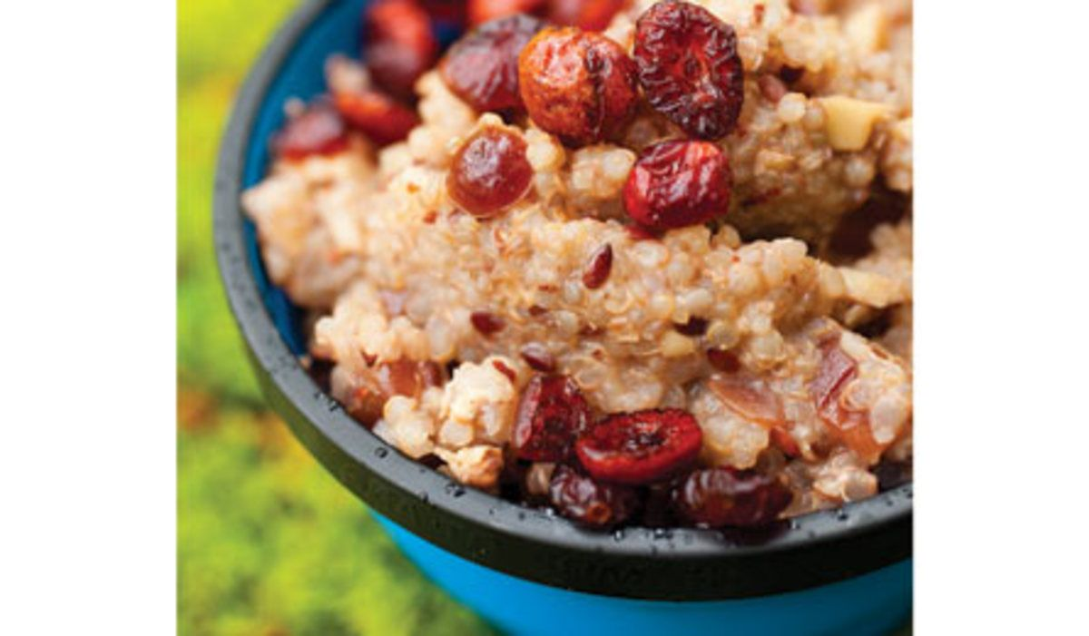 Recipe: Fruit and Nut Quinoa. Gourmet breakfast served in your sleeping bag