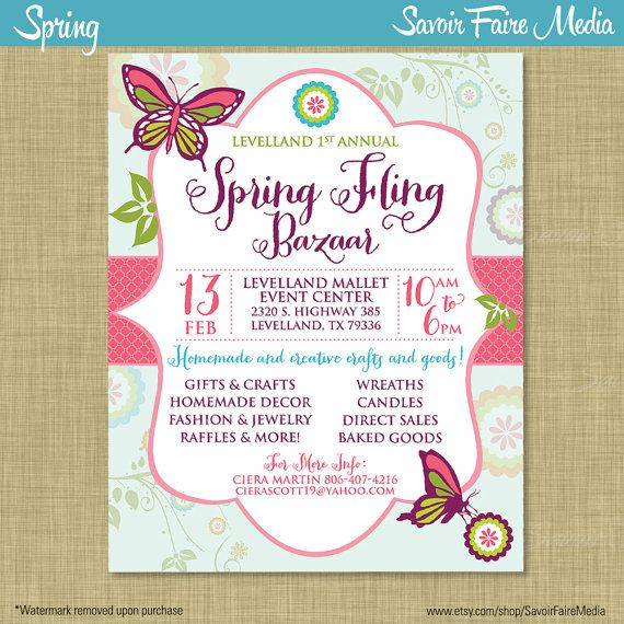 Spring Bazaar Fling Craft Market Expo Invitation Poster  Template