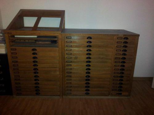 Antiker Setzkastenschrank Druckereischrank Druckerschrank in