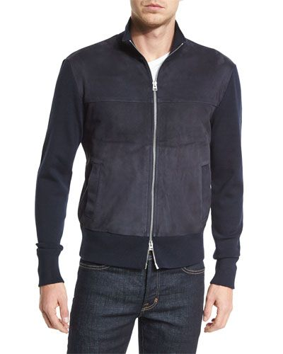 ff80389e65 Suede-Front Zip-Up Wool Jacket