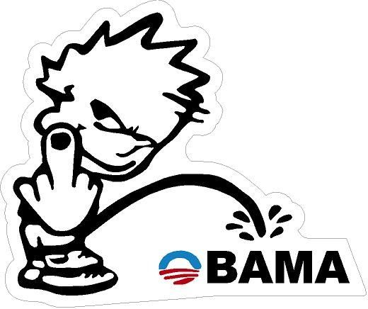 There bumper sticker piss on obama removed