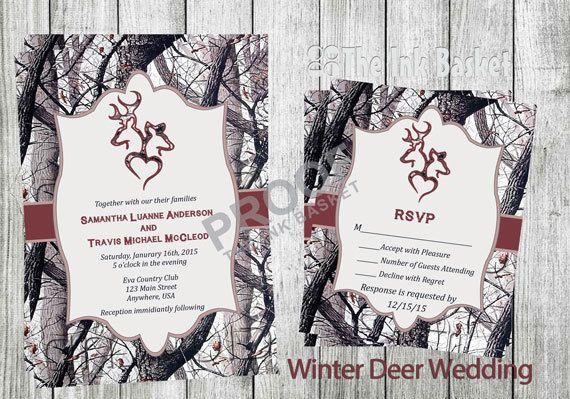 Camouflage Wedding Invitation Kits: Winter Camo Deer Head Country Wedding Invitations