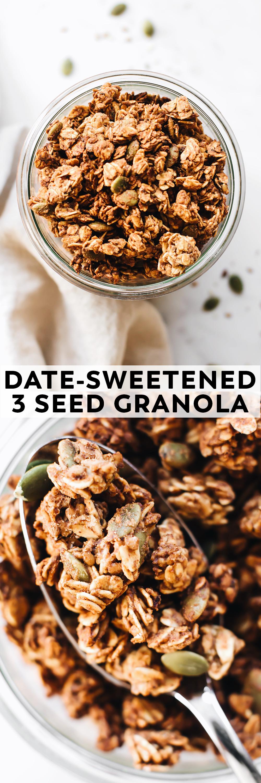 Date Sweetened 3 Seed Granola Recipe Vegan Granola Granola Feasting On Fruit