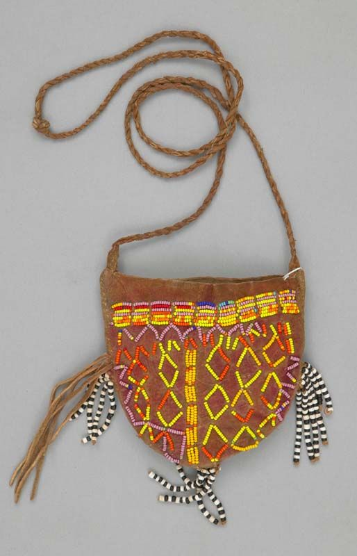 Bag From The Kung San Kalahari Bushmen People Of South Africa Leather Plastic And Glass Beads Circa Late 1900 S