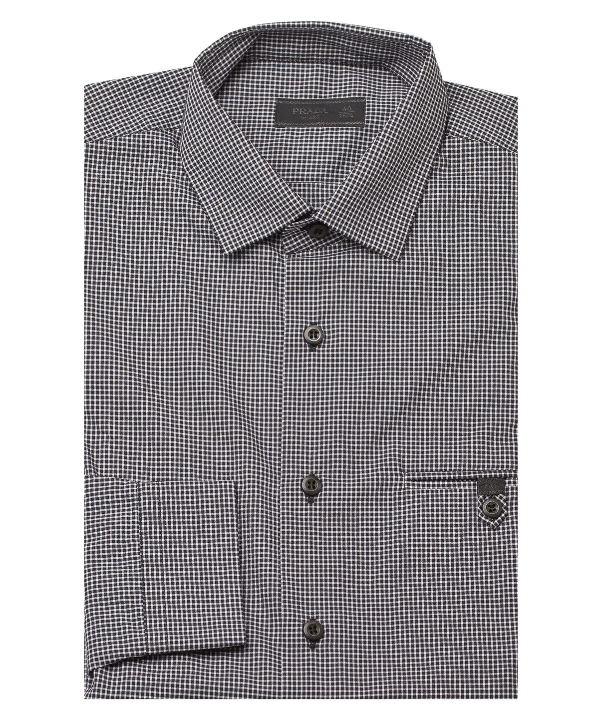 PRADA Prada Men'S Spread Collar Checkered Cotton Dress Shirt Black'. #prada #cloth #dress shirts