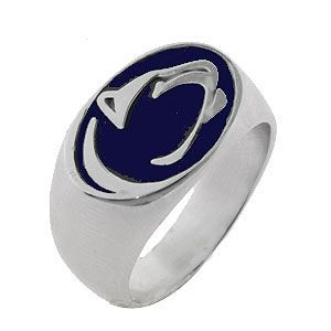 Gents Silver Nittany Lion Ring with Blue Enamel @ Kranich's Jewelers.