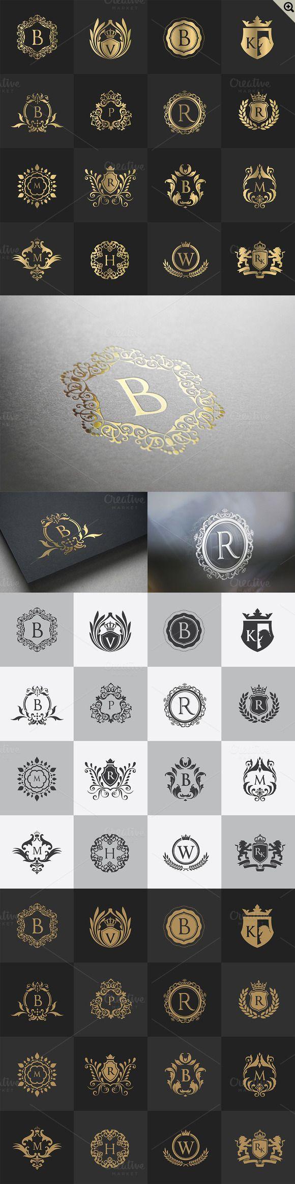 32 Luxury logo set by Super Pig Shop on @creativemarket http://jrstudioweb.com/diseno-grafico/diseno-de-logotipos/