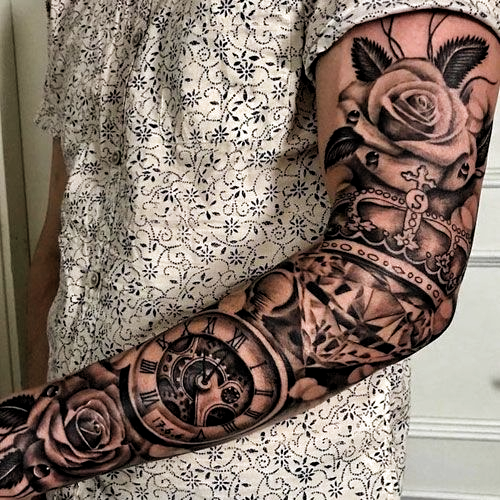 Rose Crown Pocket Watch Sleeve Tattoo For Men - Best Sleeve Tattoos For Men: Cool Full Sleeve Tattoo Ideas and Designs #tattoos #tattoosforguys #tattoosformen #tattooideas #tattoodesigns #sleeve #fullsleeve #armtattoo