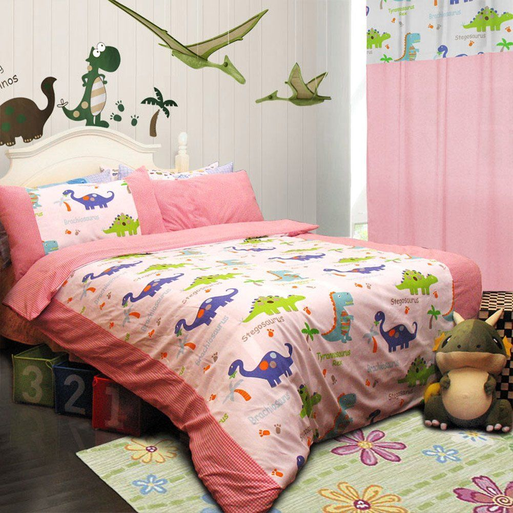 Memorecool Home Textile Cute Cartoon Dinosaur Design Environmental Reactive Printing 100 Cotton Pink 3 Pieces Bedding Set Comfortable Quilt Covers For Boys And