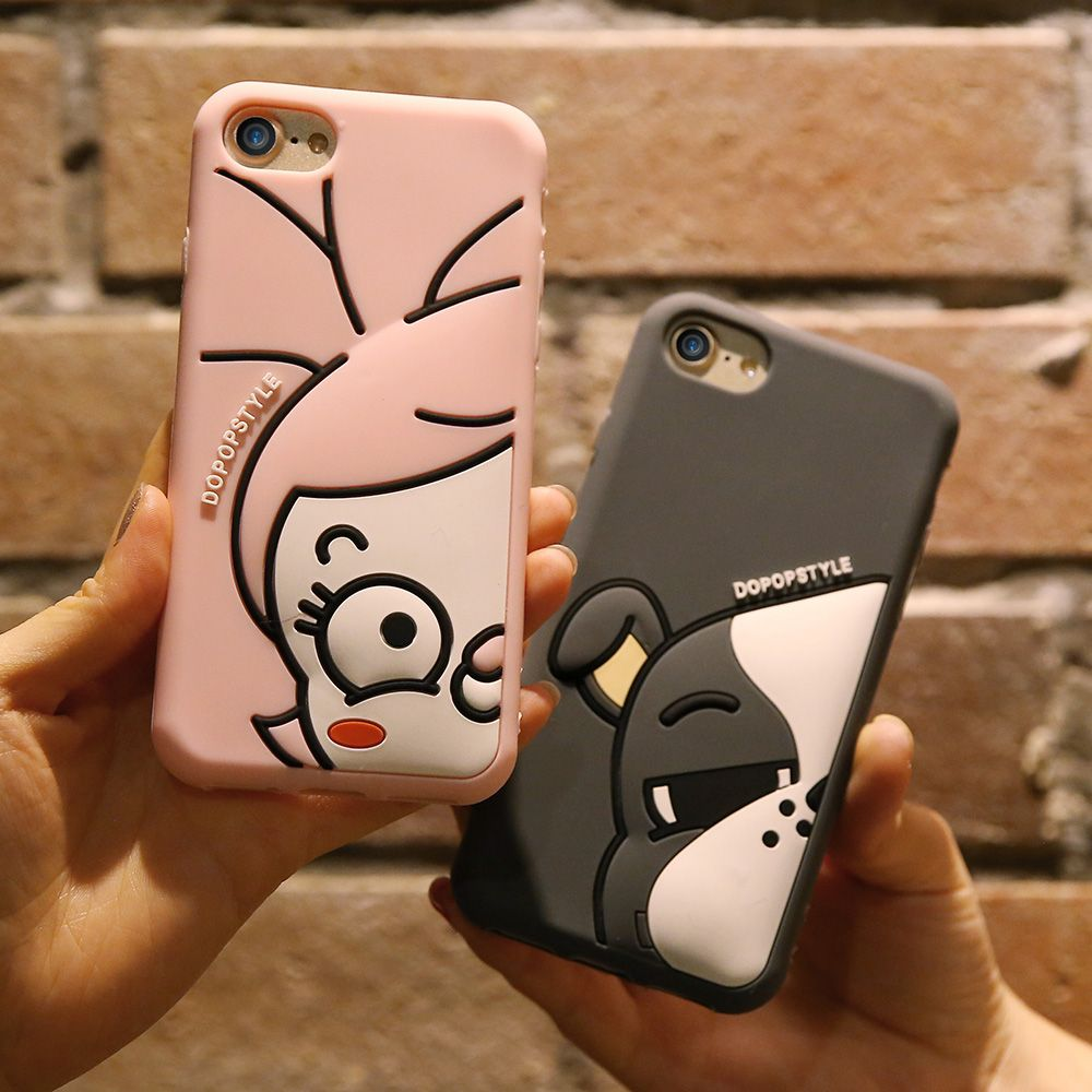 Kisscase leuke cartoon silicone case voor iphone 6 6 s 7 plus zachte silicon cover voor iphone 7 6 6 s plus coque eend puppy case Capa
